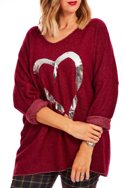 Cosy fleece heart jumper - Maroon