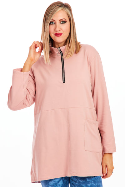 Zipstar funnel neck sweater - Pink