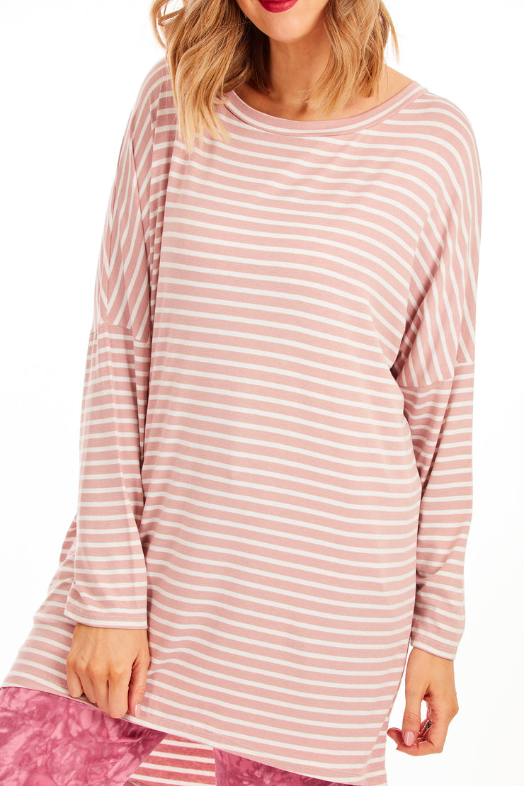 Slouchy stripe tunic - Baby Pink
