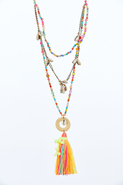 Layered tassel chain - Multi coloured