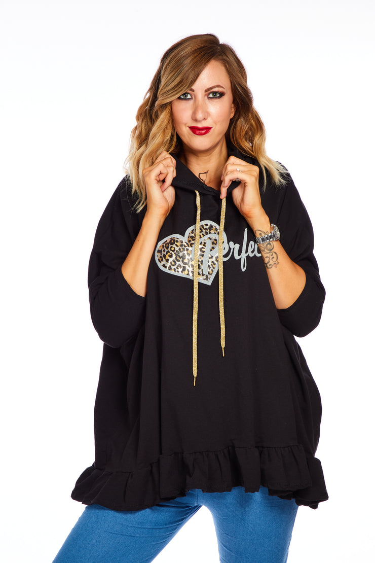 Heart of gold oversized hoodie - Black