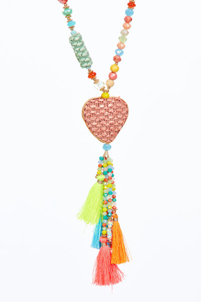 Wicker heart tassel chain - Multi Coloured