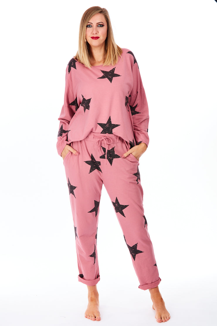 Jersey star 2 piece lounge suit - Pink