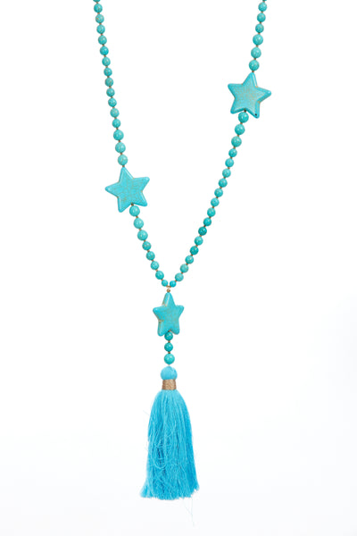 Crackle star tassel chain - Electric Blue