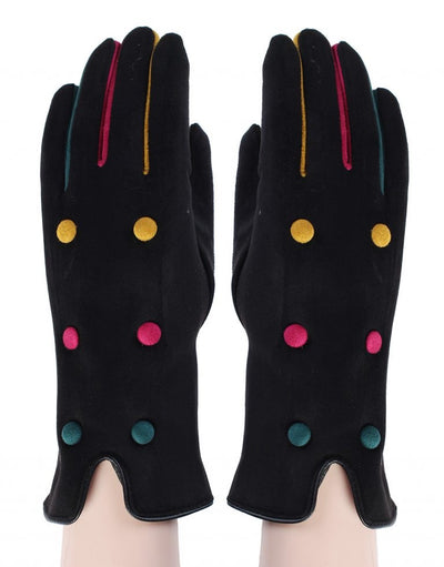 Colour button gloves - black