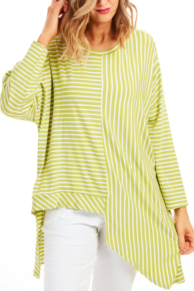 Claudia stripy loose fit top - Lime Green