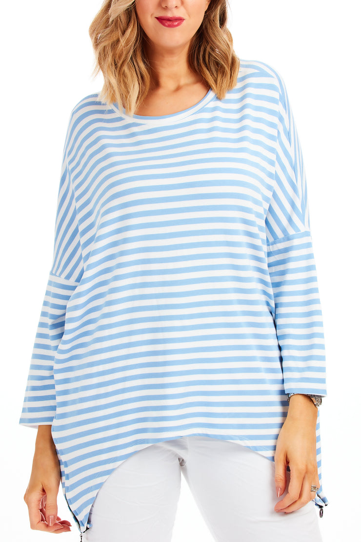 Betsy Breton striped zip top - Baby Blue
