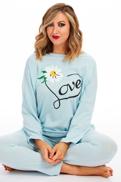 Daisy love spring lounge set - Baby blue
