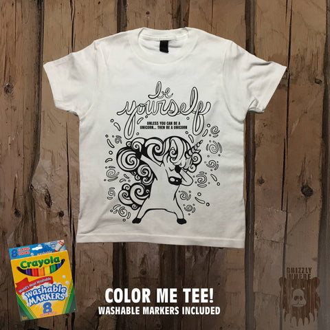 Be Yourself Coloring Unicorn Color Me Tee - Youth - Grizzly Where