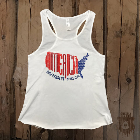 America Independent Since 1776 Graphic Tank - Grizzly Where