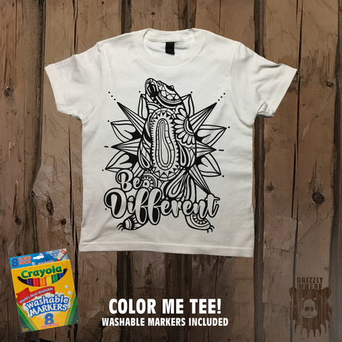 Be Different Color Me Tee - Youth - Grizzly Where