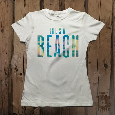 Life's A Beach Graphic Tee - Grizzly Where