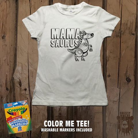 Mamasaurus Color Me Tee - Womens' - Grizzly Where