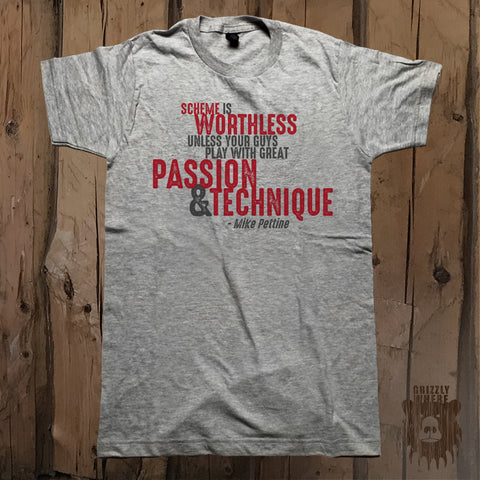 Play With Passion & Technique Motivational Quote Graphic Tee - Unisex - Grizzly Where
