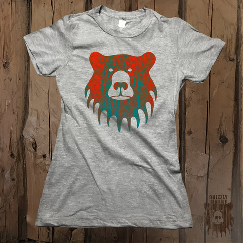 Blaze Orange Sky Graphic Logo Tee - Womens' - Grizzly Where
