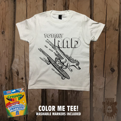 Totally Rad Skater Dino Color Me Tee - Youth - Grizzly Where