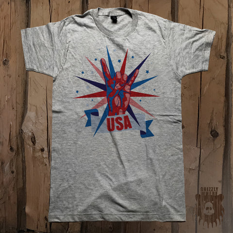 Rock On USA Graphic Tee - Unisex - Grizzly Where