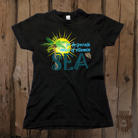 In Desperate Need Of Vitamin Sea Graphic Tee - Womens' - Grizzly Where