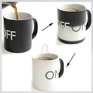 Funky Heat Sensitive Color Changing ON/ OFF Switch High-Grade Porcelain Fashion Coffee Mug/ Cup(Black)