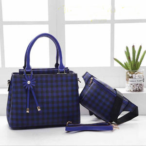 Mitchella WB Checkered Bag for Women (Blue)