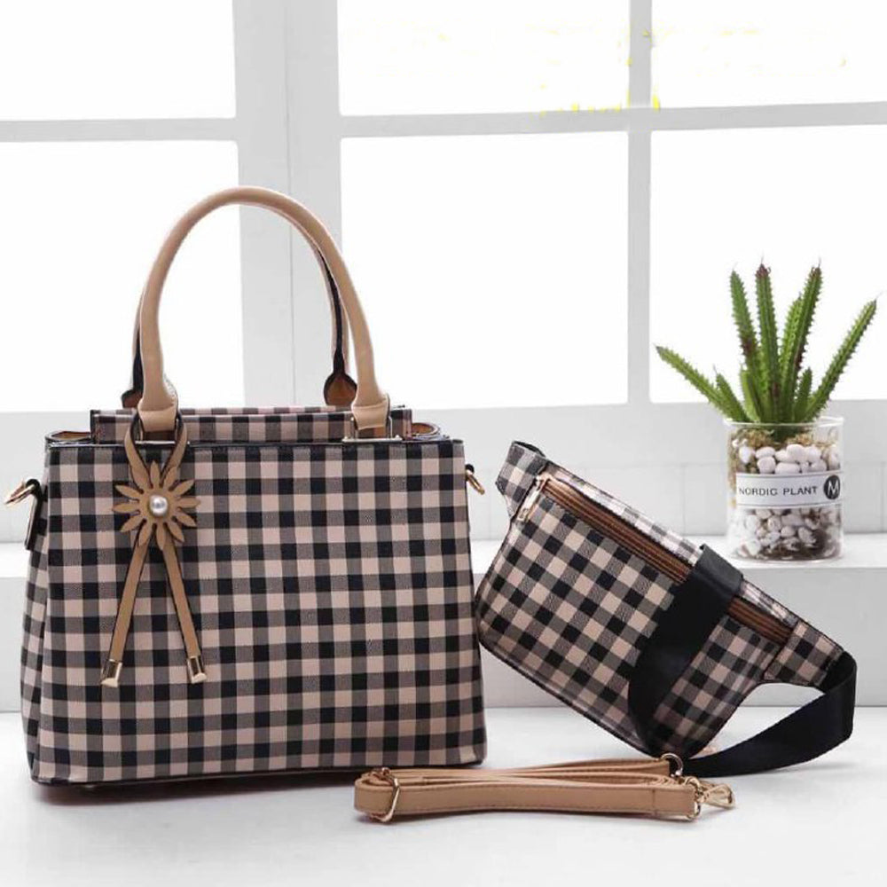 Mitchella WB Checkered Bag for Women (Khaki)