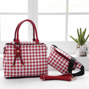 Mitchella WB Checkered Bag for Women (Red)