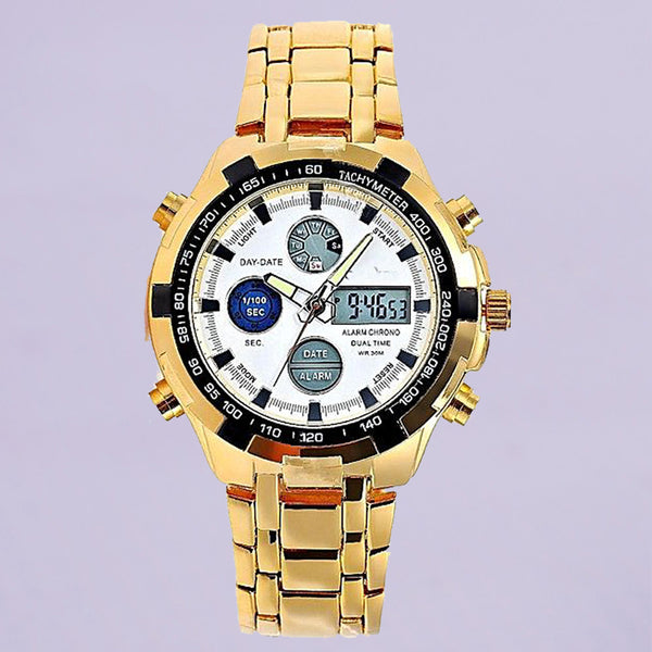 Quamer Reed Gold Wrist Watch For Men