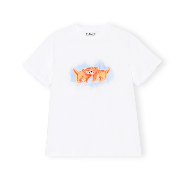Ganni T-Shirt White Cat - Prinsesse2ben