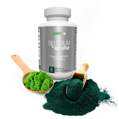 Selenium Spirulina Showing Algae Powder and Selenium Powder