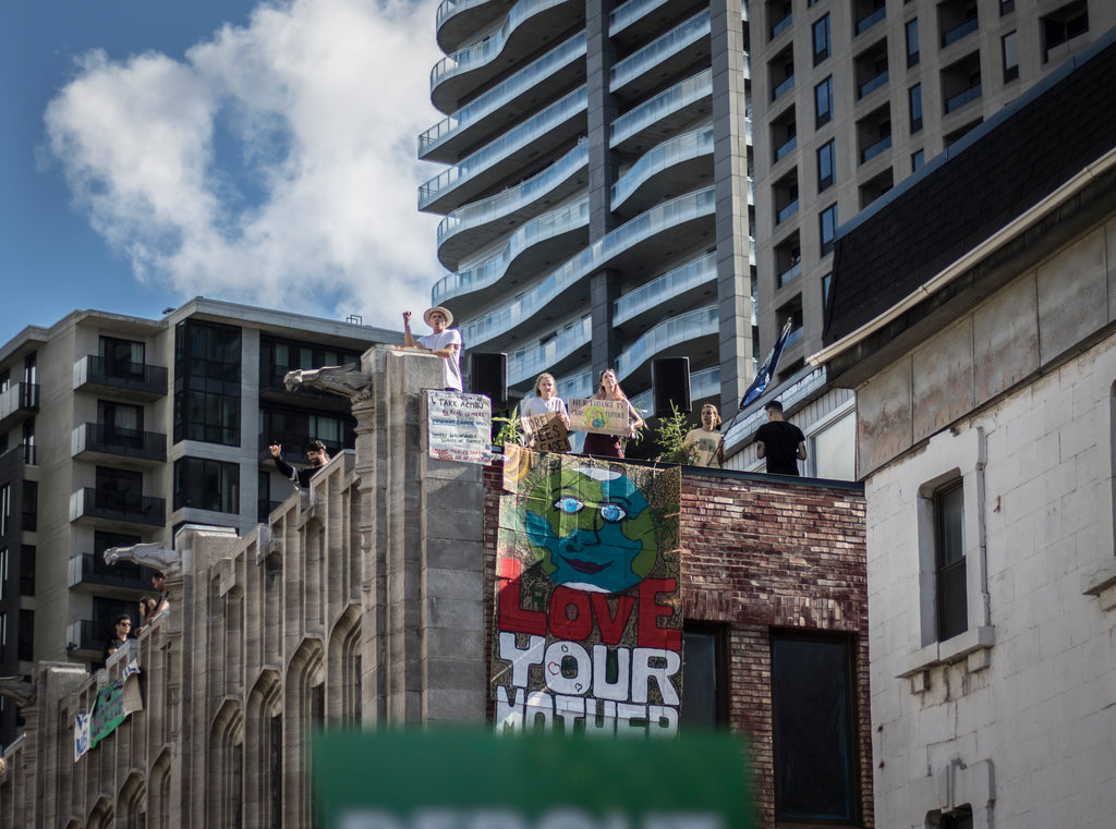 Protestors took to the rooftops to support Greta Thunberg and Montreal in the strike for climate