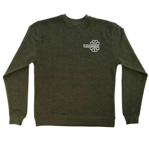 Embroided Crew Neck-Forest Green-Heather