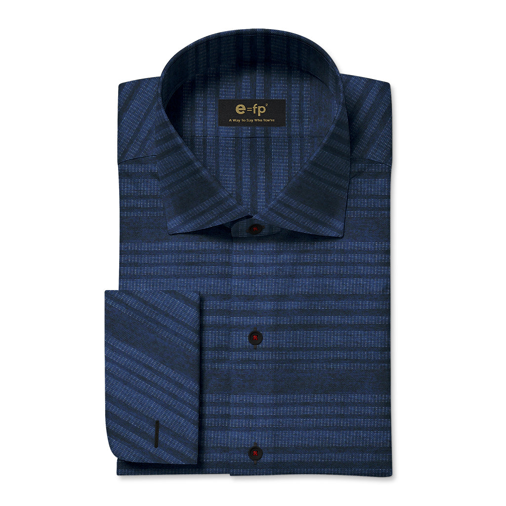 INDIGO HORIZONTAL STRIPE SHIRT