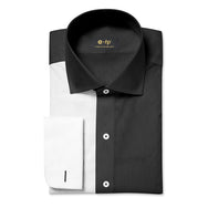NON-IRON BLACK AND WHITE TWO TONE SPLIT SHIRT