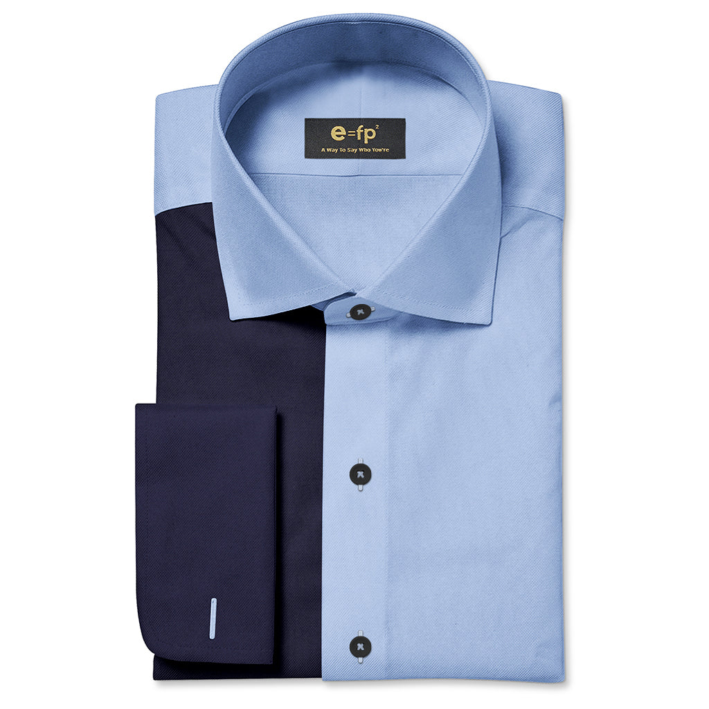 NON-IRON LIGHT BLUE AND NAVY TWO TONE SPLIT SHIRT