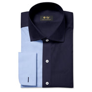 NON-IRON NAVY AND LIGHT BLUE TWO TONE SPLIT SHIRT