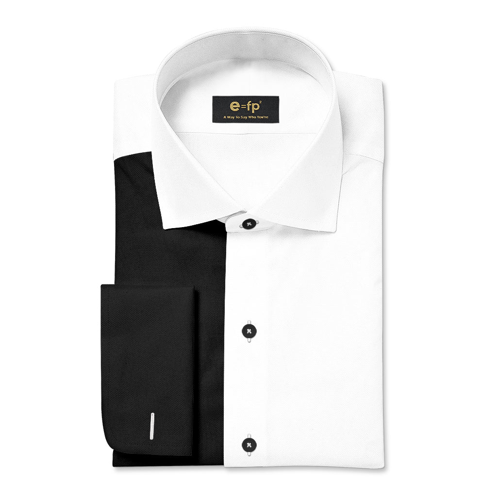 NON-IRON WHITE AND BLACK TWO TONE SPLIT SHIRT