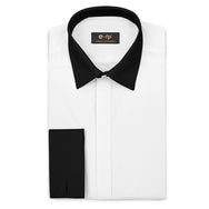 WHITE SILK TOUCH COTTON SHIRT WITH CONTRAST COLLAR AND CUFFS