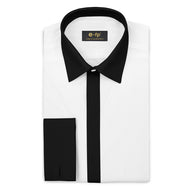 WHITE SILK TOUCH COTTON SHIRT WITH CONTRAST COLLAR, CUFFS AND PLACKET