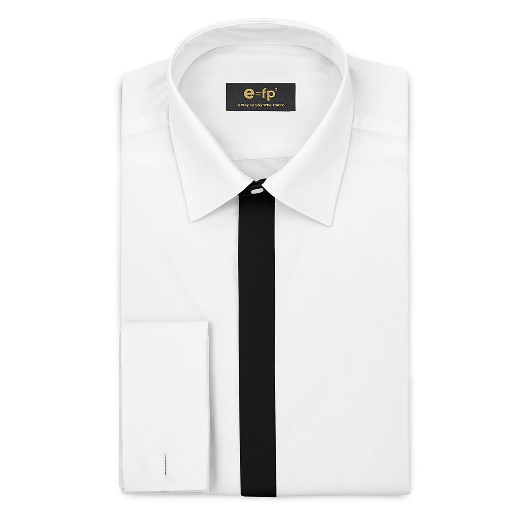 WHITE SILK TOUCH COTTON SHIRT WITH CONTRAST PLACKET