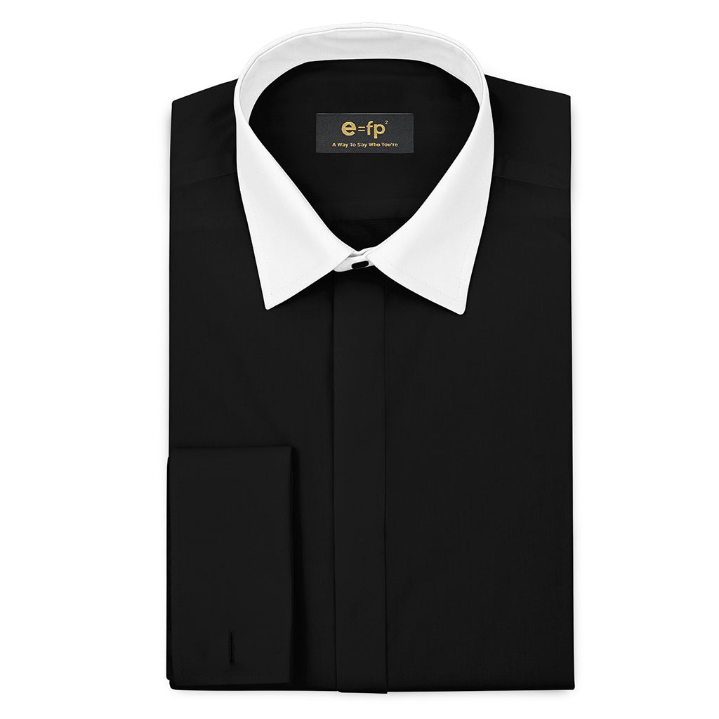 SILK TOUCH BLACK COTTON SHIRT WITH CONTRAST COLLAR