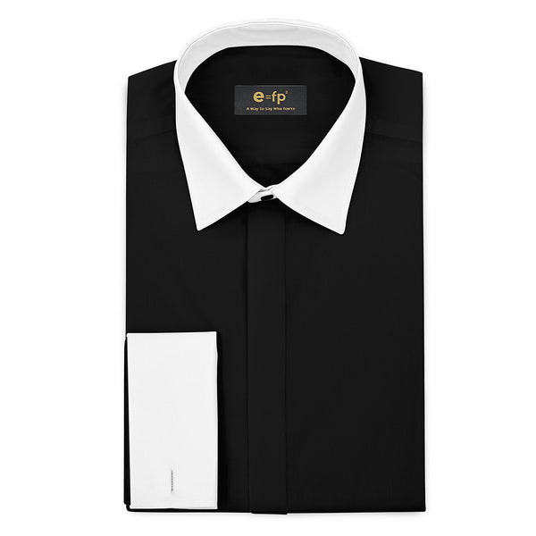 SILK TOUCH BLACK COTTON SHIRT WITH CONTRAST COLLAR AND CUFFS