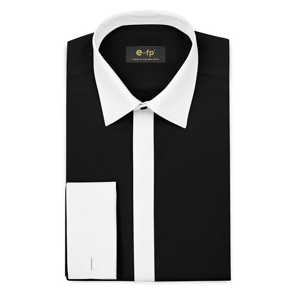 SILK TOUCH BLACK COTTON SHIRT WITH CONTRAST COLLAR, CUFFS AND PLACKET
