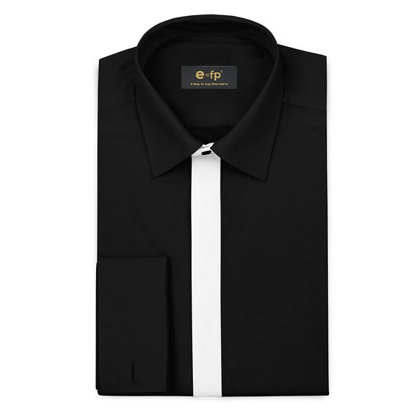 SILK TOUCH BLACK COTTON SHIRT WITH CONTRAST PLACKET