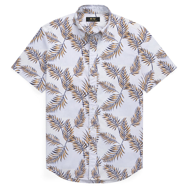 COTTON LINEN LEAF PRINT SHIRT