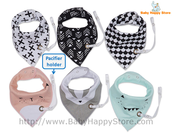 01 - Baby Bibs With Pacifier Hangers - Product Photo