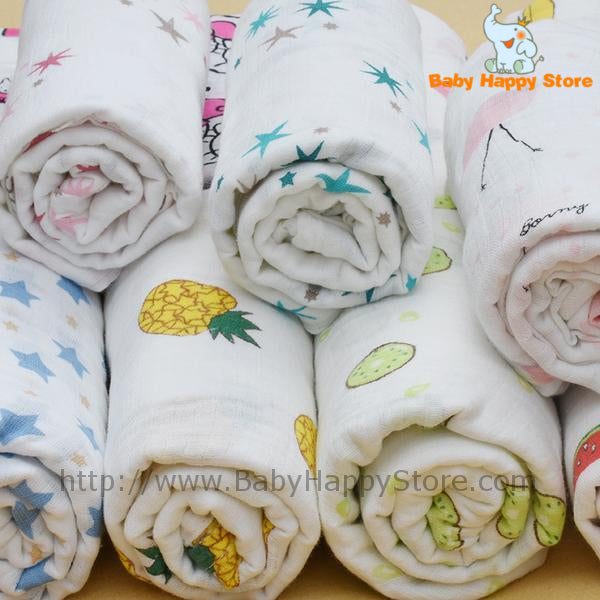 01 - Cute Baby Muslin Blankets - Animals Fruits and Shapes - Promo