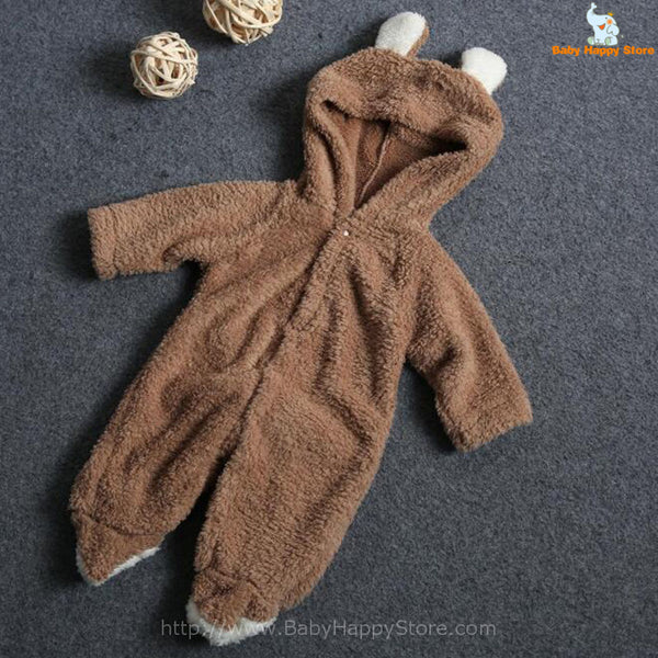 01 - Newborn Baby Bear Romper - Light Brown 01