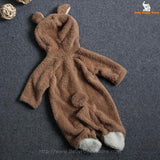 02 - Newborn Baby Bear Romper - Light Brown 02