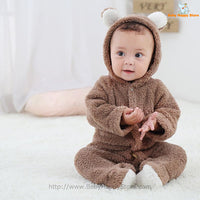 03 - Newborn Baby Bear Romper - Light Brown 03