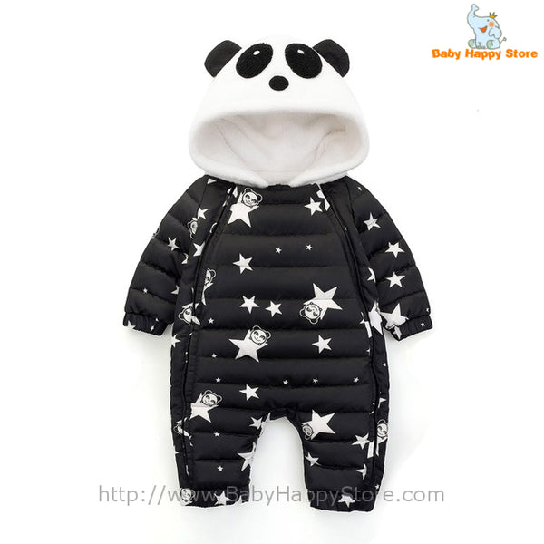 03 - Panda Hooded Star Pattern Winter Baby Romper Coat - Black 01